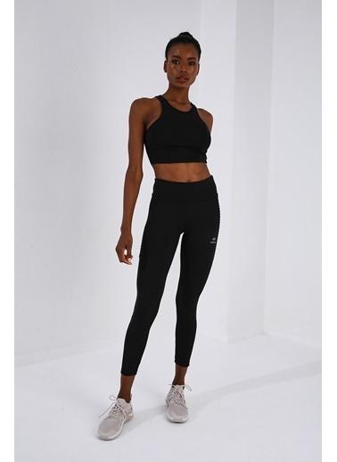 Tommy Life Siyah Kadın Yüksek Bel Toparlayıcı Slim Fit Dar Paça Tayt-94568 Siyah